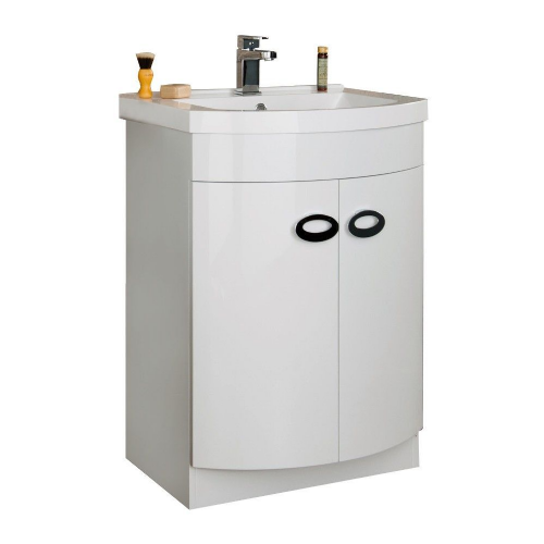 Emperor 600mm White Gloss Floor Standing Cabinet & Basin
